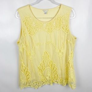 🌷EST 1946 XL Yellow Lace Overlay Tank Top
